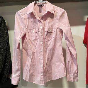 White House black market pink pinstripe blouse top